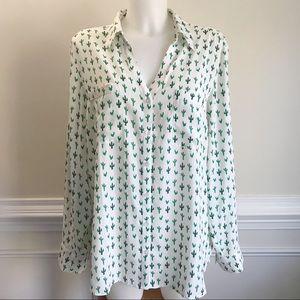 EXPRESS cactus Portofino button up blouse